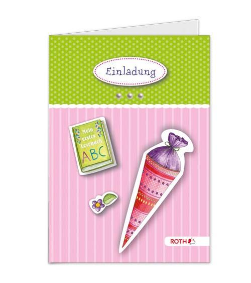 """Einladungskarten-Bastelset """"Einschulung"""" - rosa - 4 Stück"""