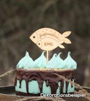 "Dein Cake-Topper ""Konfirmation - Fische"" aus Holz - Wunschtext"