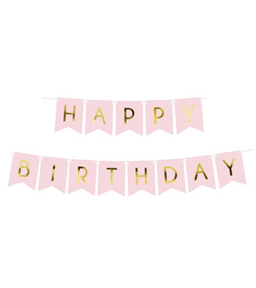 "DIY-Wimpelgirlande ""Happy Birthday"" - rosa/gold - 1,75 m"