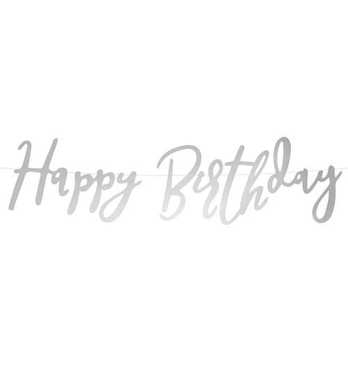 Happy Birthday-Girlande - silber - 62 cm
