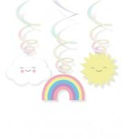 """Spiralgirlanden """"Regenbogen und Wolke"""" - 6 Stück"""