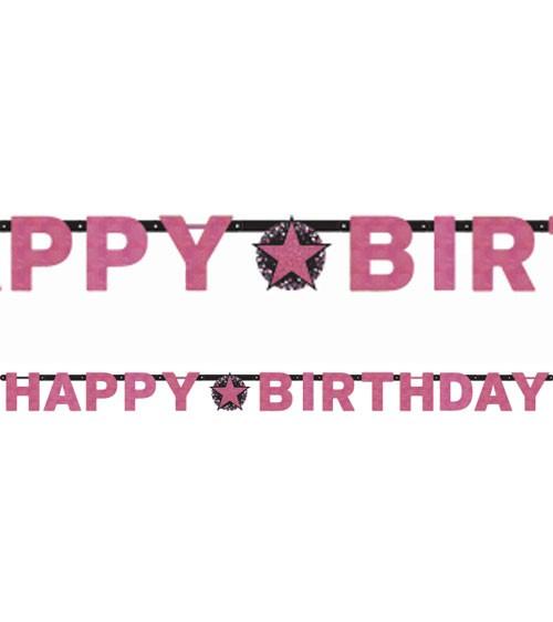 "Happy Birthday-Girlande ""Sparkling Pink"" - 2,13 m"