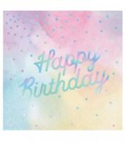 """Servietten """"Iridescent"""" - Happy Birthday - 16 Stück"""