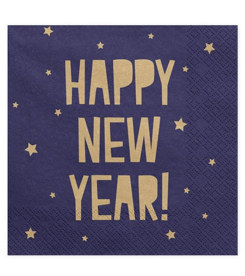 "Servietten ""Happy New Year"" - navy blue/gold - 20 Stück"