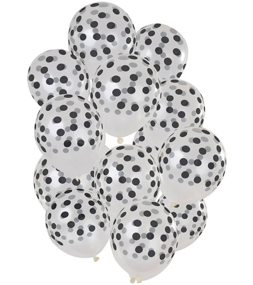 Transparente Luftballons mit schwarzen Punkten - 15 Stück