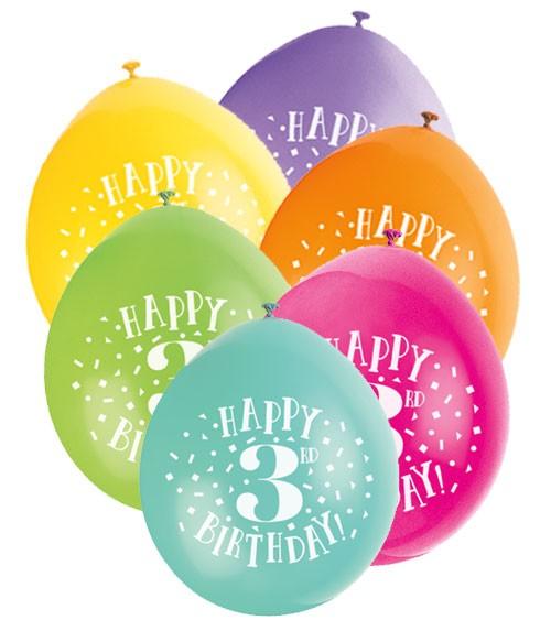 """Luftballon-Set """"Happy 3rd Birthday"""" - bunt - 23 cm - 10 Stück"""