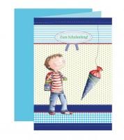 "Einladungskarten ""Schulanfang - blau"" - 5 Stück"