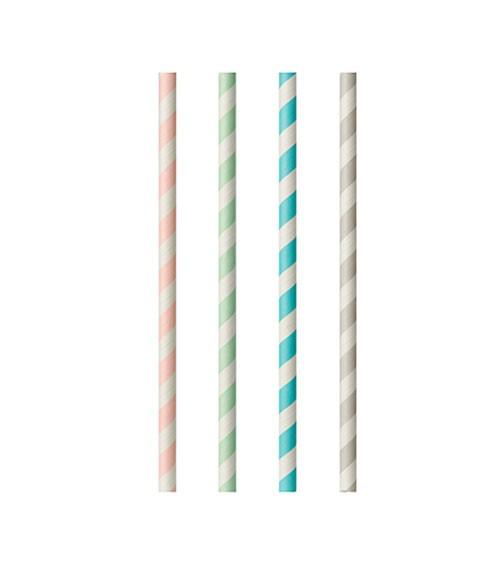 Papierstrohhalme - gestreift - Pastell Mix - 100 Stück