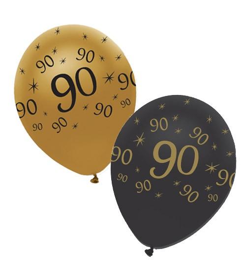 "Luftballon-Set ""90"" - schwarz, gold - 6 Stück"