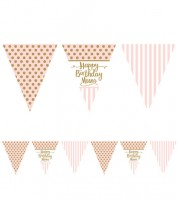 "Wimpelgirlande aus Papier ""Rosa Party"" - Happy Birthday Mum - 3,7 m"