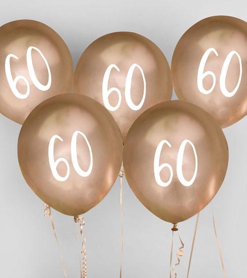 "Metallic-Luftballons ""60"" - gold - 5 Stück"