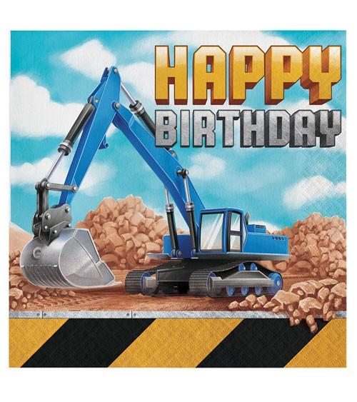 """Servietten """"Baumaschinen"""" - Happy Birthday - 16 Stück"""