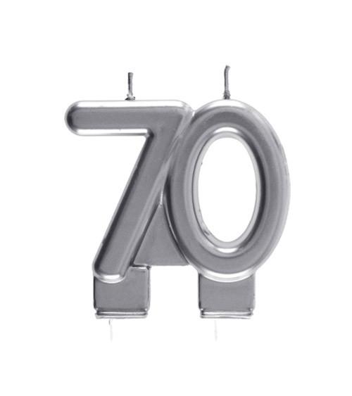 "Geburtstagskerze ""70"" - silber - 7,5 x 7 cm"