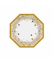 """Kleine Pappteller """"Silvester"""" - gold/schwarz - 6 Stück"""