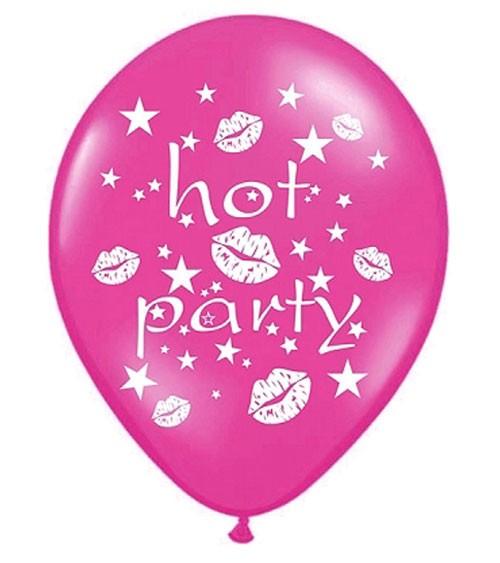 "Metallic-Luftballons ""hot party"" - pink - 6 Stück"
