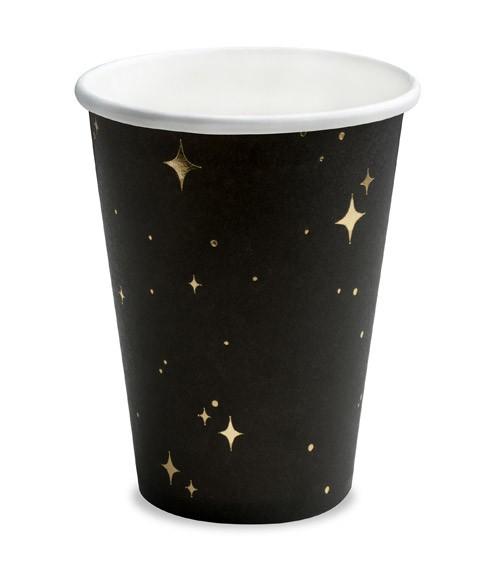 Pappbecher mit Sternen - schwarz/gold - 6 Stück
