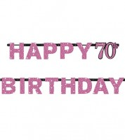"Happy Birthday-Girlande ""Sparkling Pink"" - 70. Geburtstag"