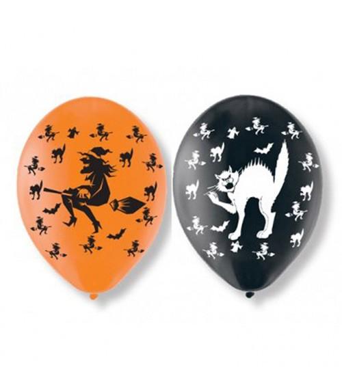 """Luftballon-Set """"Hexen und Katzen"""" - orange/schwarz - 6 Stück"""