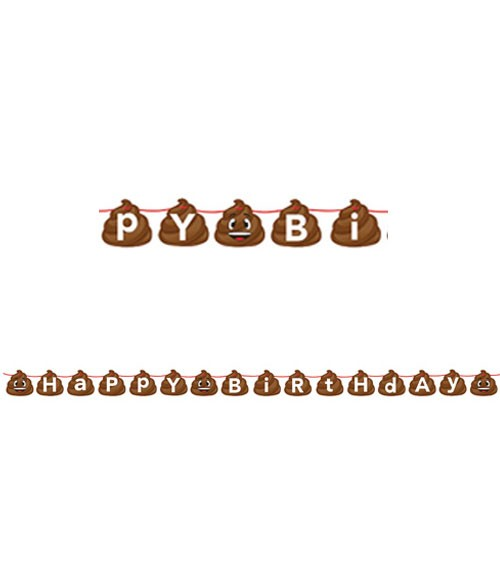 "Happy Birthday-Girlande ""Emoticon - Poop"" - 1,67 m"