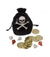 Piratenbeutel mit Münzen und Edelsteinen