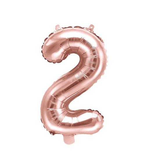 "Folienballon Zahl ""2"" - rosegold - 35 cm"