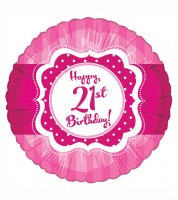 "Runder Folienballon ""Perfectly Pink"" - Happy 21st Birthday!"
