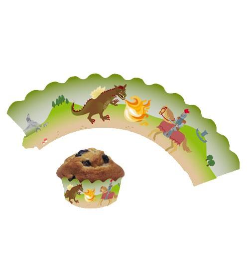 "Cupcake-Wrapper ""Ritter und Drache"" - 12 Stück"