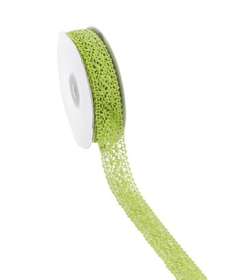 Spitzenband auf Rolle - apfelgrün - 23 mm x 10 m