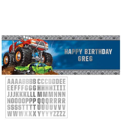 """Großer Partybanner mit Stickern """"Monster Truck Show"""" - 152 x 51 cm"""