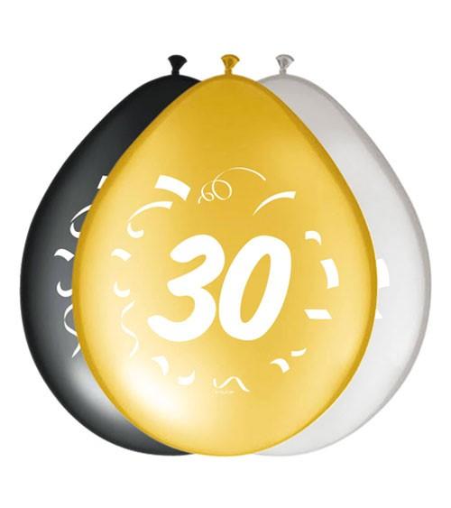 """Luftballon-Set """"30"""" - schwarz, gold, silber - 8 Stück"""