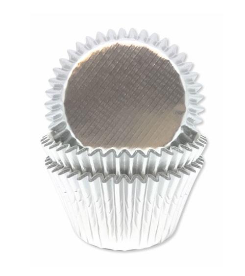 """Papierförmchen """"Metallic Silber"""" - 45 Stück"""