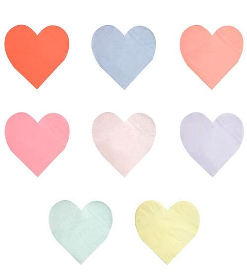 Herz-Servietten in 8 Farben - 20 Stück