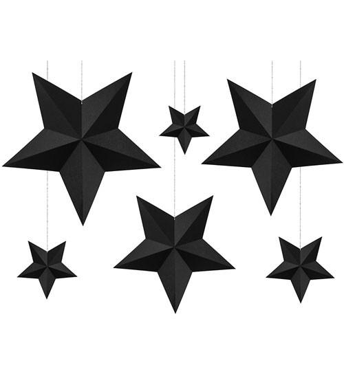 """Hängedekoration """"3D-Sterne"""" - schwarz - 6 Stück"""