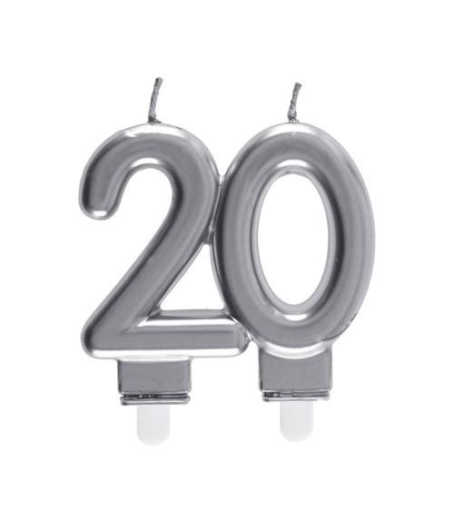 "Geburtstagskerze ""20"" - silber - 7,5 x 7 cm"