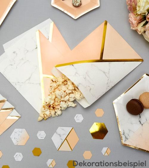 """Süßigkeiten-Tüten """"Marmor"""" - pfirsich/gold - 25 Stück"""