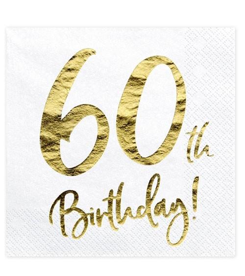 """Servietten """"60th Birthday!"""" - weiß/metallic gold - 20 Stück"""