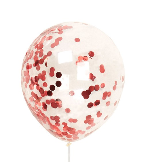 Transparente Ballons mit Konfetti - metallic rot - 8 Stück