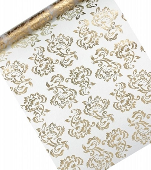 Organza-Tischläufer mit goldenen Ornamenten - 36 cm x 9 m