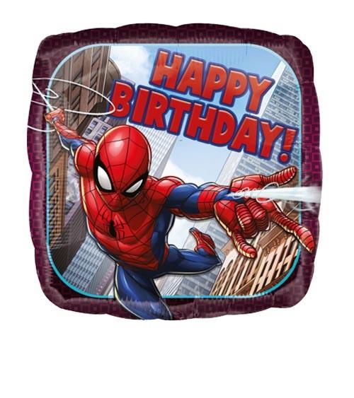 "Eckiger Folienballon ""Spider-Man"" - Happy Birthday"