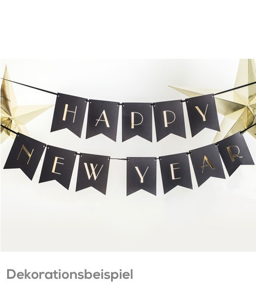 "DIY-Wimpelgirlande ""Happy New Year"" - schwarz/gold - 1,7 m"