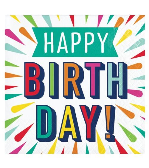 """Servietten """"Birthday Colours"""" - Happy Birthday - 16 Stück"""
