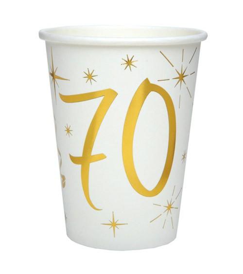 "Pappbecher ""70"" - weiß, gold - 10 Stück"