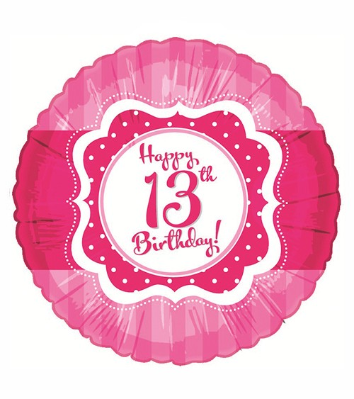 "Runder Folienballon ""Perfectly Pink"" - Happy 13th Birthday!"