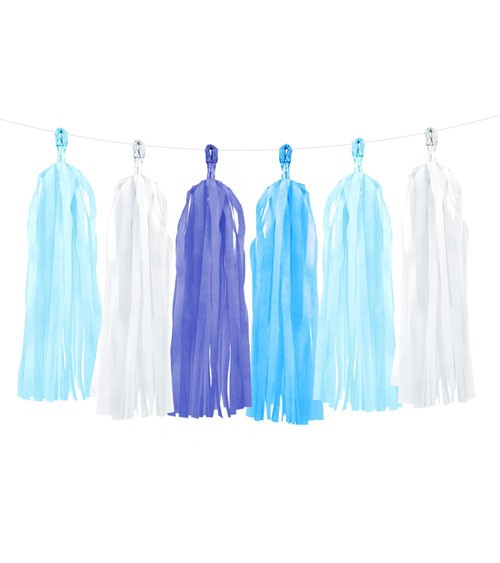 DIY Tassel-Girlande - blau/weiß - 1,5 m