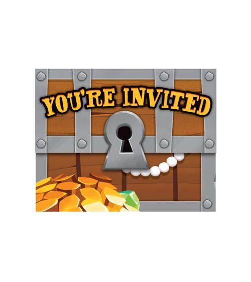 """Einladungskarten """"Piratenschatz"""" - 8 Stück"""