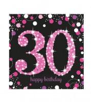 """Servietten """"Sparkling Pink"""" - 30. Geburtstag - 16 Stück"""