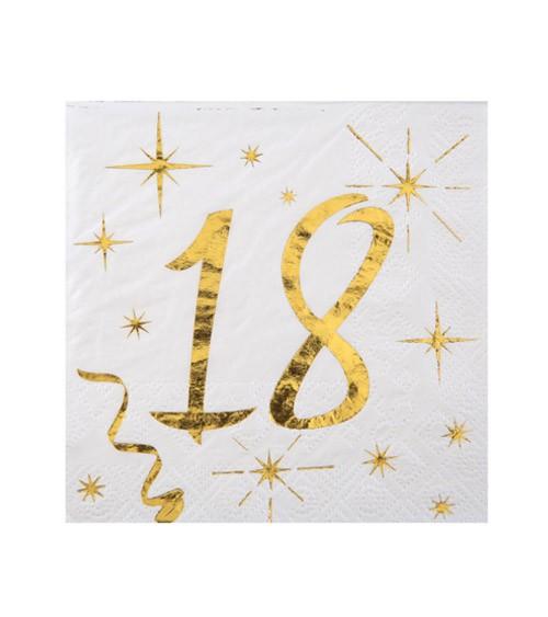 """Cocktail-Servietten """"18"""" - weiß, gold - 20 Stück"""