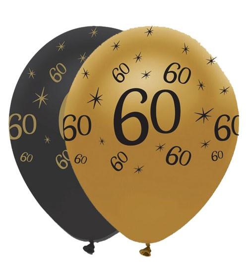 "Luftballon-Set ""60"" - schwarz/gold - 6 Stück"