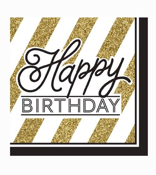 """Servietten """"Black & Gold"""" - Happy Birthday - 16 Stück"""