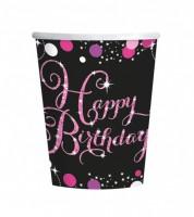 """Pappbecher """"Sparkling Pink"""" - Happy Birthday - 8 Stück"""